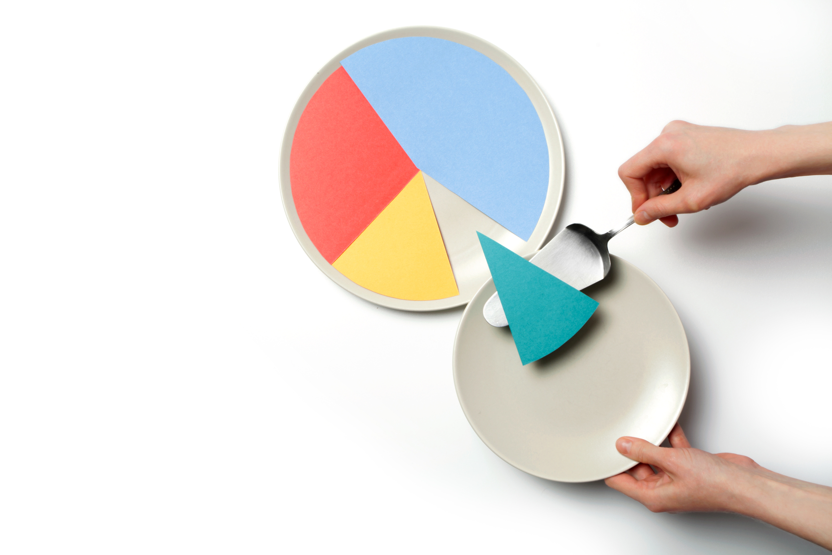 Paper pie chart on a plate